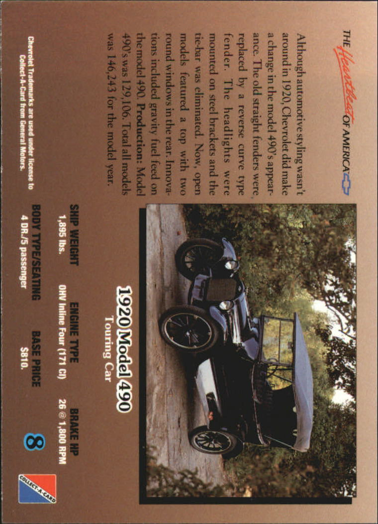 1992-Chevy-Auto-Collect-A-Card-s-1-100-A3222-You-Pick-10-FREE-SHIP miniature 17