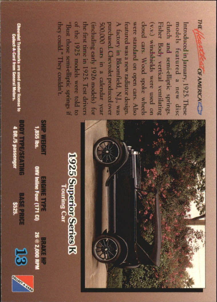 1992-Chevy-Auto-Collect-A-Card-s-1-100-A3222-You-Pick-10-FREE-SHIP miniature 27