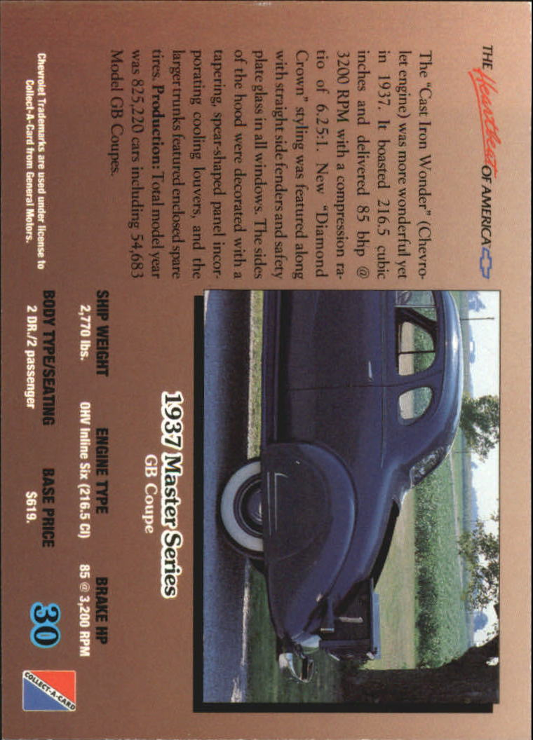1992-Chevy-Auto-Collect-A-Card-s-1-100-A3222-You-Pick-10-FREE-SHIP miniature 61