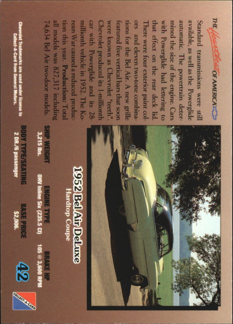 1992-Chevy-Auto-Collect-A-Card-s-1-100-A3222-You-Pick-10-FREE-SHIP miniature 85