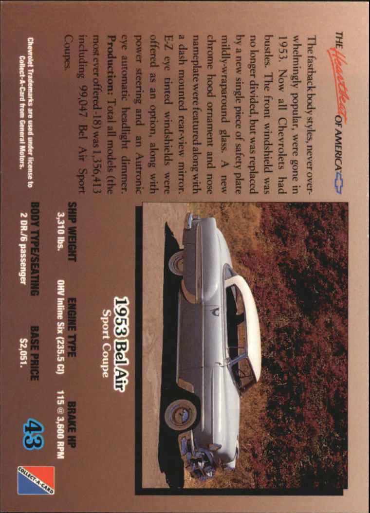 1992-Chevy-Auto-Collect-A-Card-s-1-100-A3222-You-Pick-10-FREE-SHIP miniature 87