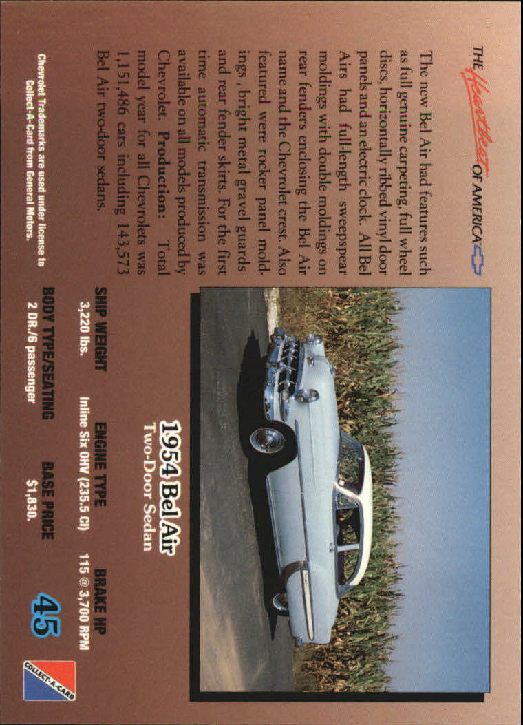 1992-Chevy-Auto-Collect-A-Card-s-1-100-A3222-You-Pick-10-FREE-SHIP miniature 91