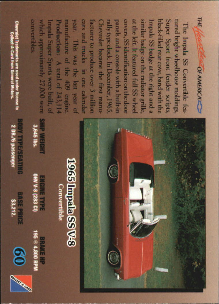 1992-Chevy-Auto-Collect-A-Card-s-1-100-A3222-You-Pick-10-FREE-SHIP miniature 121
