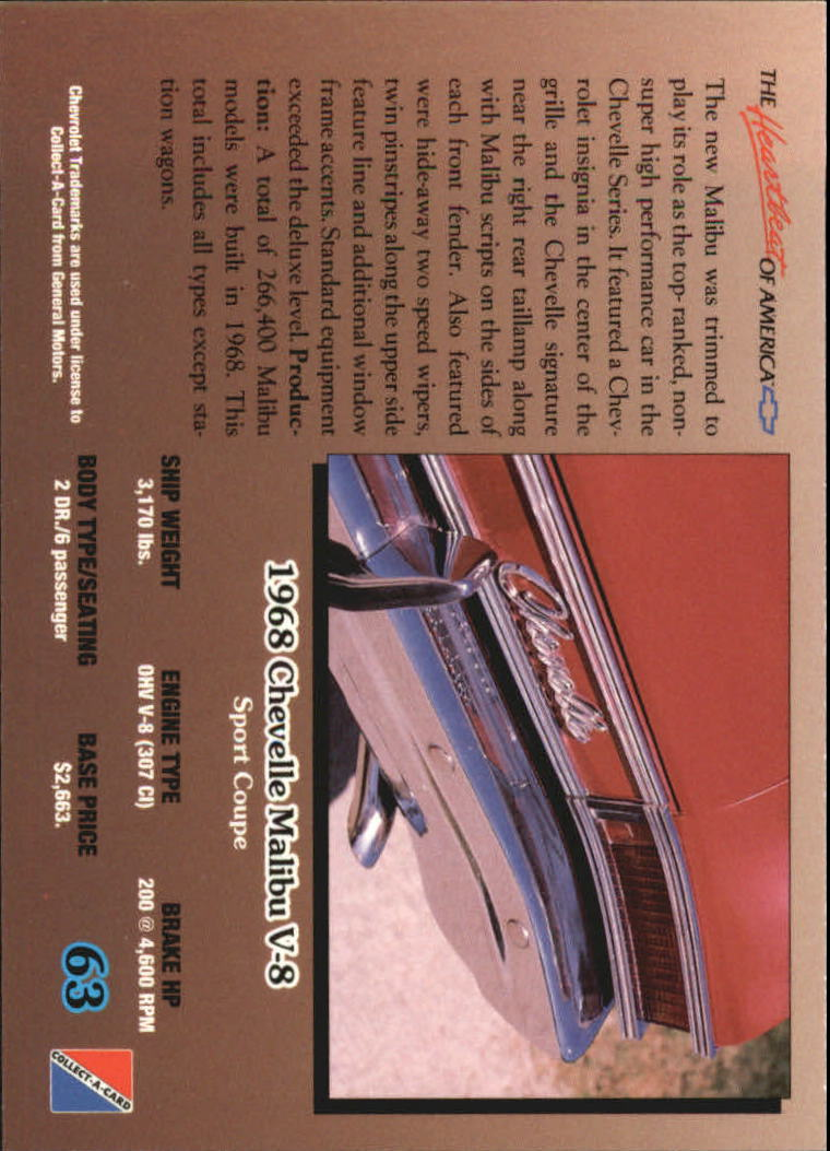 1992-Chevy-Auto-Collect-A-Card-s-1-100-A3222-You-Pick-10-FREE-SHIP miniature 127
