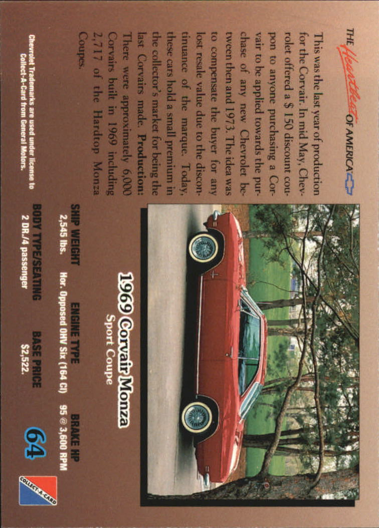 1992-Chevy-Auto-Collect-A-Card-s-1-100-A3222-You-Pick-10-FREE-SHIP miniature 129