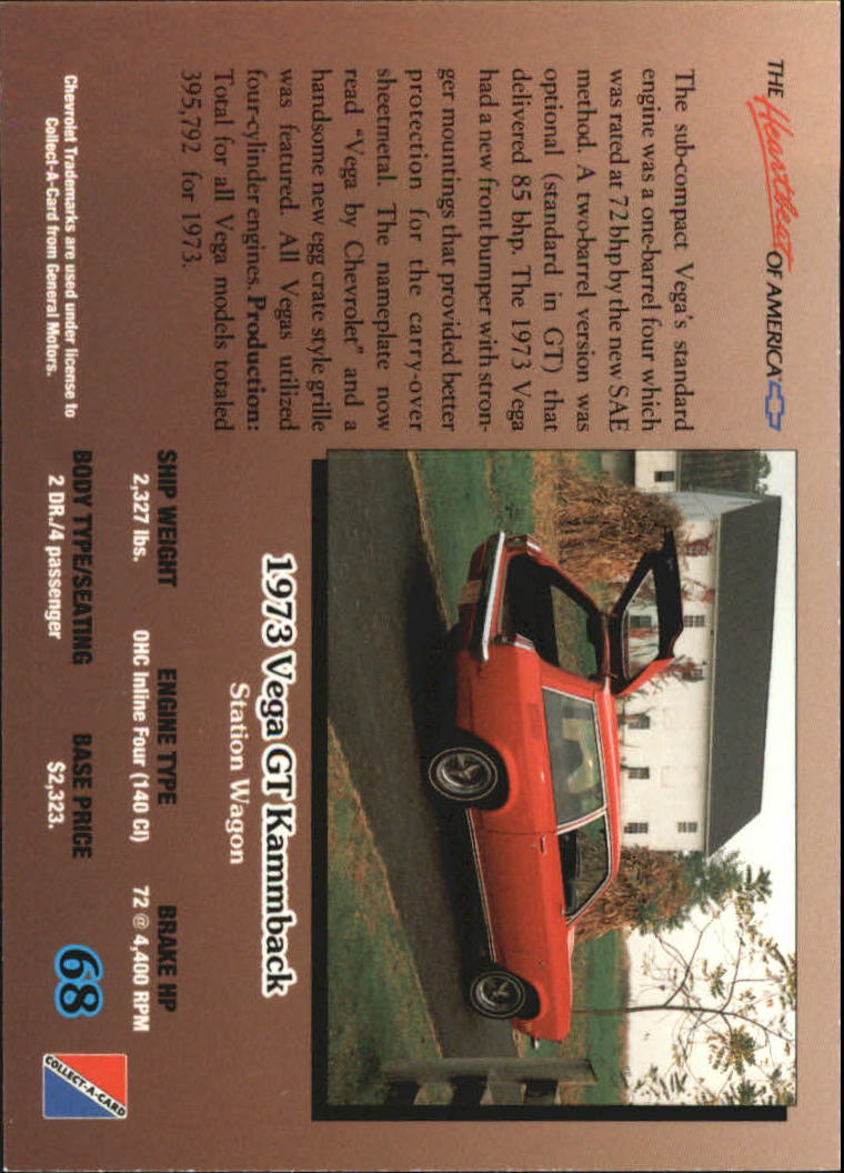 1992-Chevy-Auto-Collect-A-Card-s-1-100-A3222-You-Pick-10-FREE-SHIP miniature 137