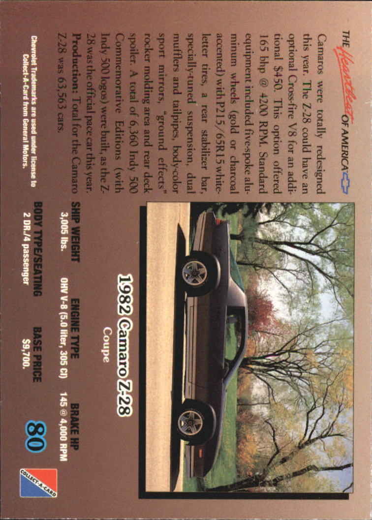 1992-Chevy-Auto-Collect-A-Card-s-1-100-A3222-You-Pick-10-FREE-SHIP miniature 161