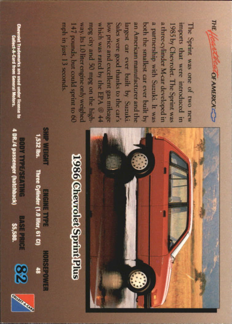 1992-Chevy-Auto-Collect-A-Card-s-1-100-A3222-You-Pick-10-FREE-SHIP miniature 165