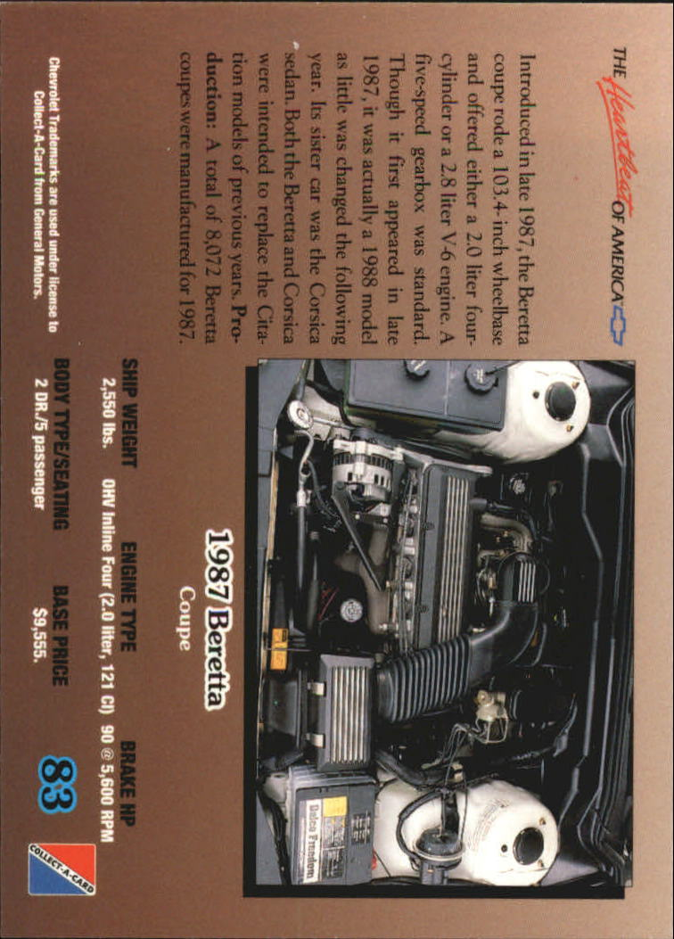 1992-Chevy-Auto-Collect-A-Card-s-1-100-A3222-You-Pick-10-FREE-SHIP miniature 167