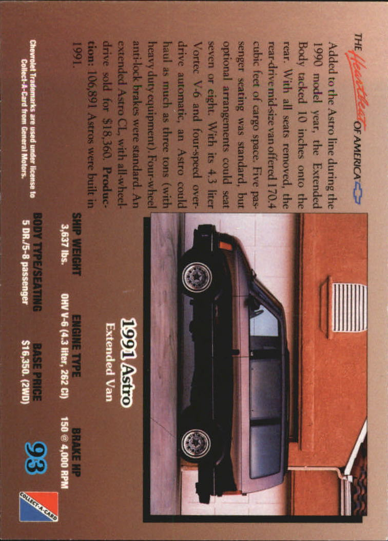 1992-Chevy-Auto-Collect-A-Card-s-1-100-A3222-You-Pick-10-FREE-SHIP miniature 187