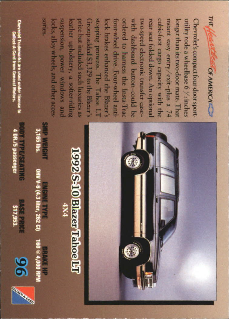 1992-Chevy-Auto-Collect-A-Card-s-1-100-A3222-You-Pick-10-FREE-SHIP miniature 193