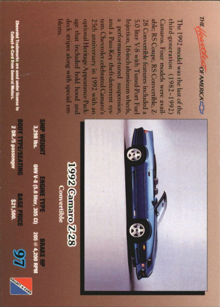 1992-Chevy-Auto-Collect-A-Card-s-1-100-A3222-You-Pick-10-FREE-SHIP miniature 195