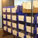 Seen through security glass, BGS orders are locked away awaiting graders to examine the cards inside.