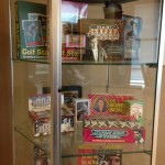 Non-sports among many displays in Panini's lobby.