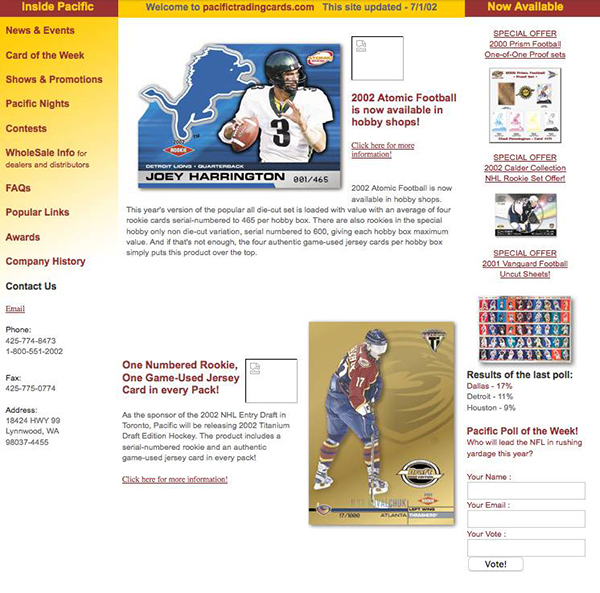 Pacific Home Page 2002