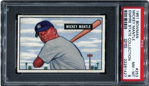 1951 Bowman 1952 Topps Mickey Mantle Cards Set Records