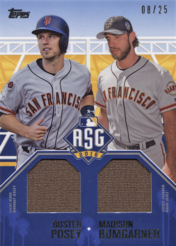 9c78d67ea 2016 Topps Update Series Baseball All Star Stitches Dual Jersey Buster  Posey Madison Bumgarner
