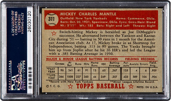 1952 Topps Mickey Mantle Tops 1 Million