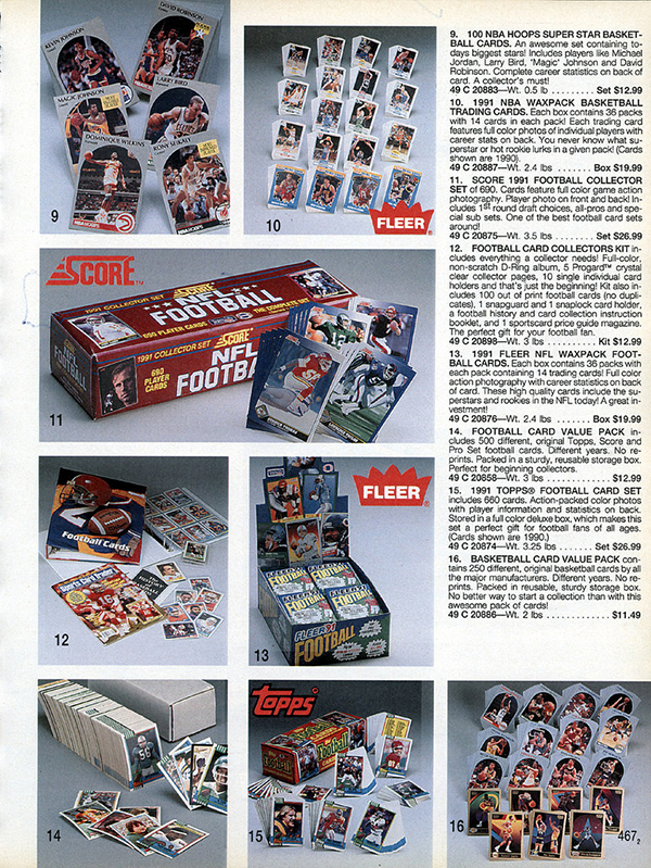 Sears Christmas Catalog.Sports Cards In The 1991 Sears Christmas Catalog