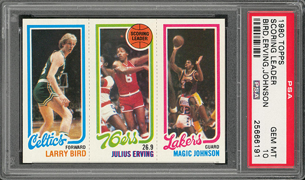 1980 81 Topps Larry Bird Magic Johnson Rookie Card Sells For Over