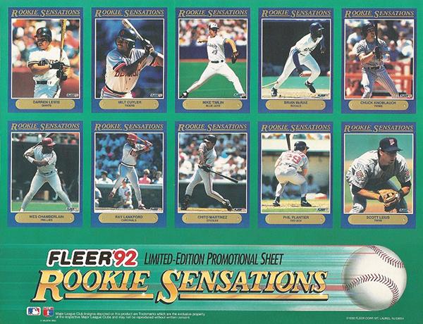 1992 Fleer Rookie Sensations Gallery Checklist Details