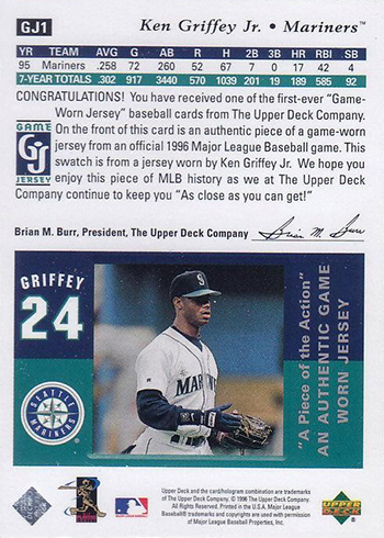 1997 Upper Deck Game Jersey Checklist Gallery Details