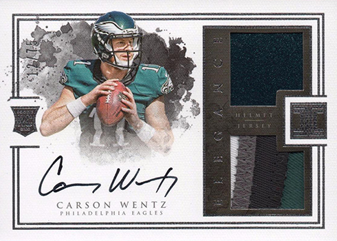 7e78cafd102 One is a patch, which is standard for high-end cards. The second piece  comes from a helmet. At 75 copies, it's not the rarest Carson Wentz Rookie  Card, ...