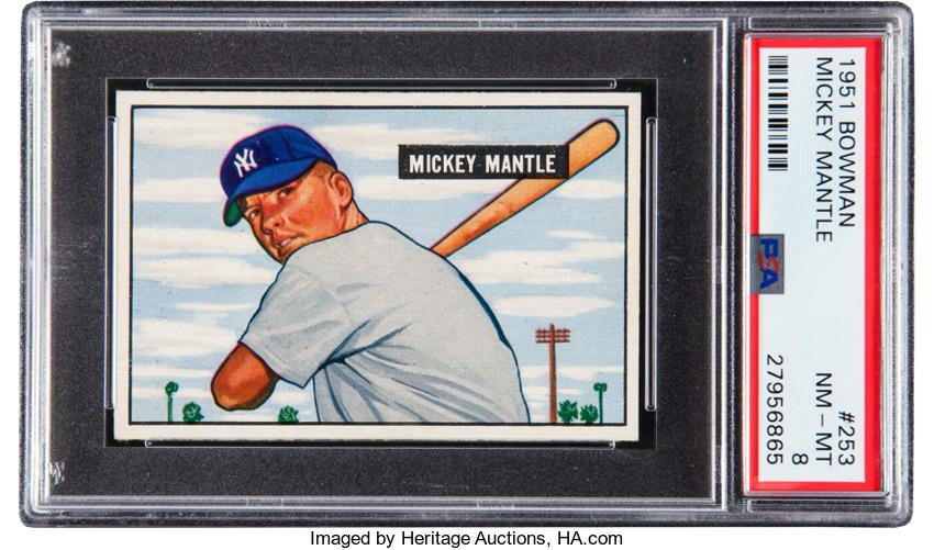 1951 Bowman Mickey Mantle PSA 8