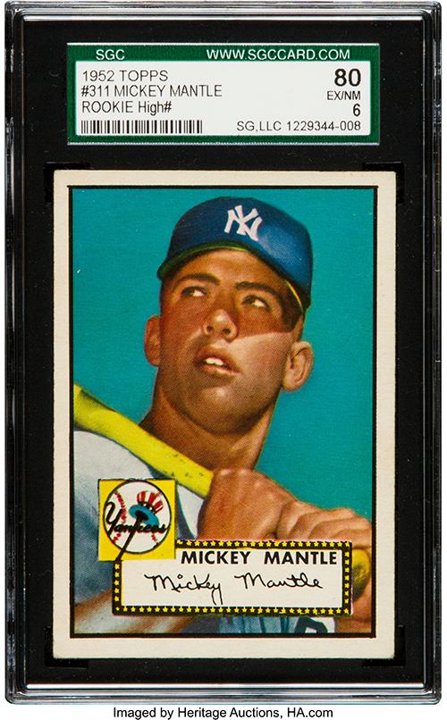 408k 1952 Topps Mickey Mantle Leads Heritage Auctions