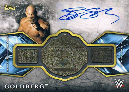 2017 Topps Legends of WWE Autographed Commemorative Championship Goldberg