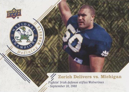 2017 Upper Deck Notre Dame 1988 Champions Football Defining Moments