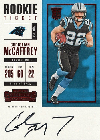 2017 Panini Contenders Football Rookie Ticket RPS Red Zone Christian McCaffrey Autograph