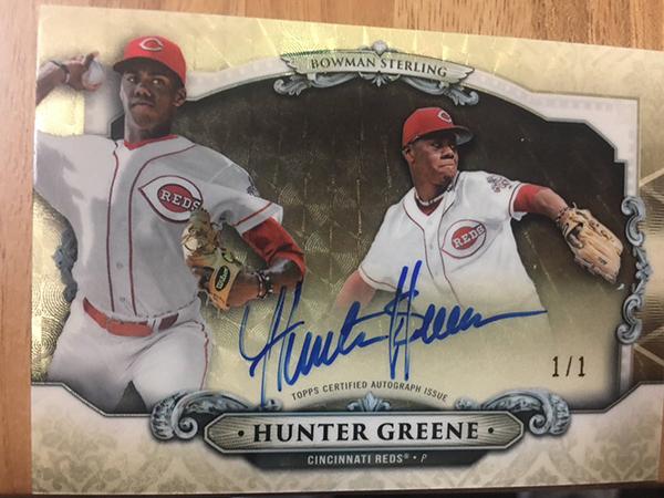2018 Bowman Bowman Sterling Hunter Greene Superfractor Autograph