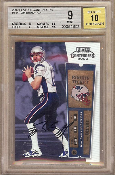 2000 Playoff Contenders Tom Brady Rookie Ticket Autograph BGS 9