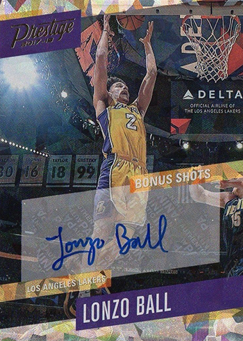 2017-18 Panini Prestige Basketball Bonus Shots Signatures Lonzo Ball Crystal