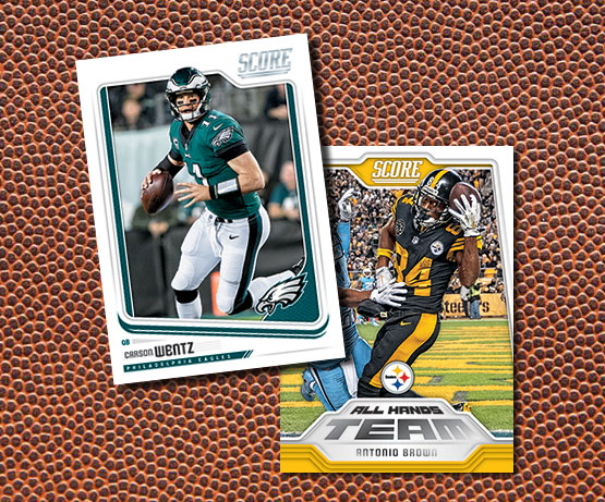 14156bcdfdf 2018 Score Football kicks off a new NFL card season with its traditional  large checklist including lots of Rookie Cards. Also back is the hobby  jumbo box ...