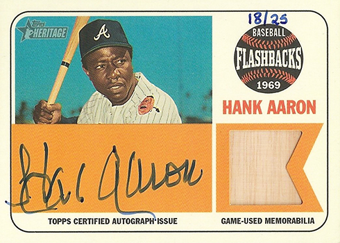 2018 Topps Heritage Baseball Baseball Flashbacks Autograph Relic Hank Aaron