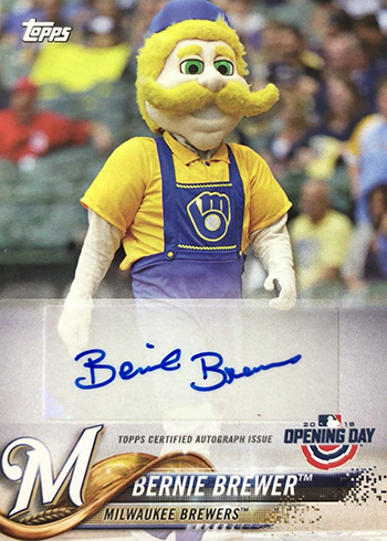 2018 Topps Opening Day Baseball Mascot Autographs Bernie Brewer