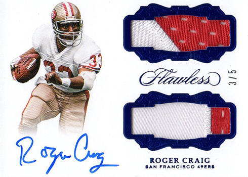2017 Panini Flawless Football Dual Patch Autographs Sapphire Roger Craig