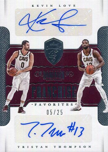 2017-18 Panini Dominion Basketball Franchise Favorites Autographs Kevin Love Tristan Thompson