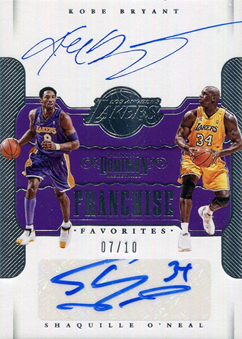 2017-18 Panini Dominion Basketball Franchise Favorites Kobe Bryant Shaquille ONeal