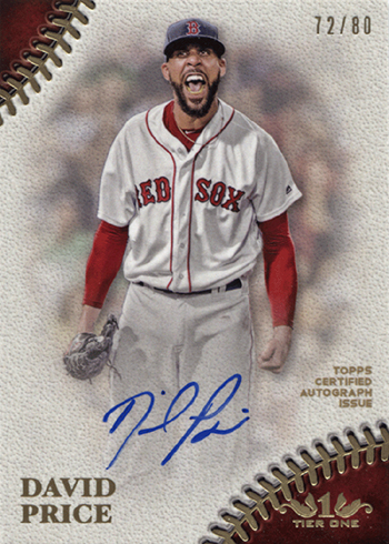 2018 Topps Tier One Baseball Prime Performers Autographs David Price