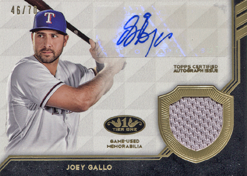 2018 Topps Tier One Baseball Tier One Autograph Relics Joey Gallo