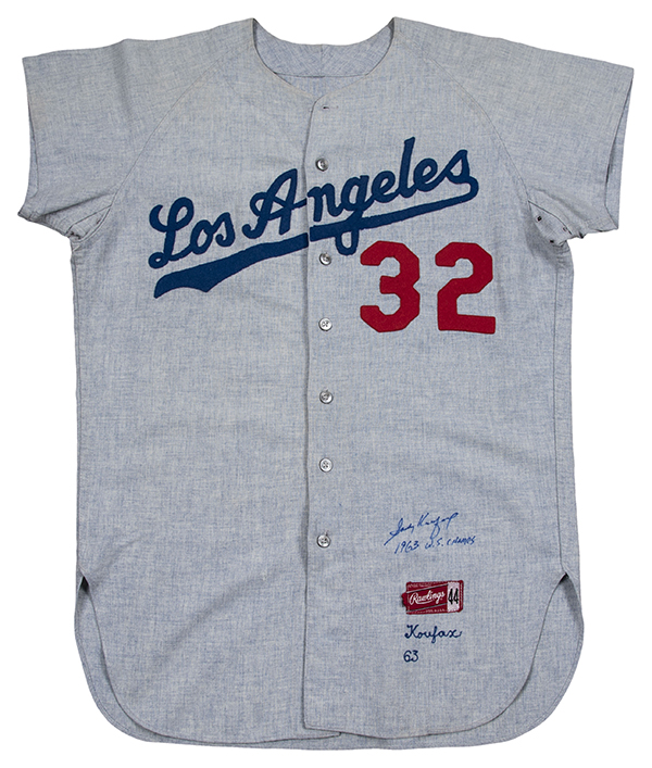 Sandy Koufax Game-Used 1963 Los Angeles Dodgers Jersey Front Goldin Auctions May-2018 600