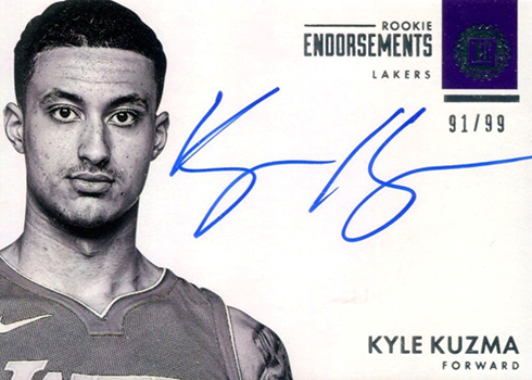 2017-18 Panini Encased Basketball 117 Kyle Kuzma Autograph Rookie Endorsements