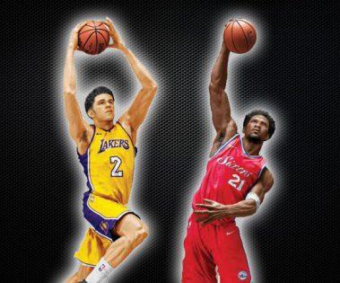 McFarlane NBA Series 32 Joel Embiid Philadelphia 76ers red jersey rookie piece