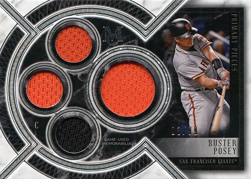 2018 Topps Museum Collection Baseball Primary Pieces Quad Memorabilia Buster Posey