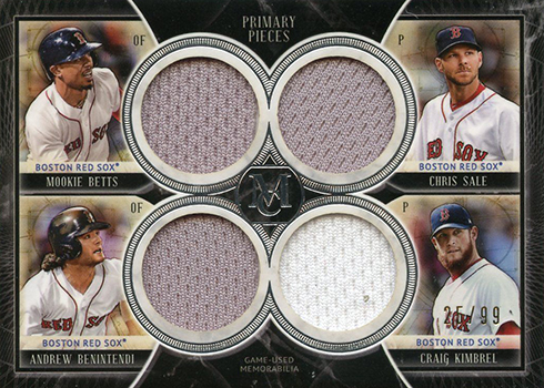 2018 Topps Museum Collection Baseball Primary Pieces Quad Relic Combo Betts Sale Benintendi Kimbrel