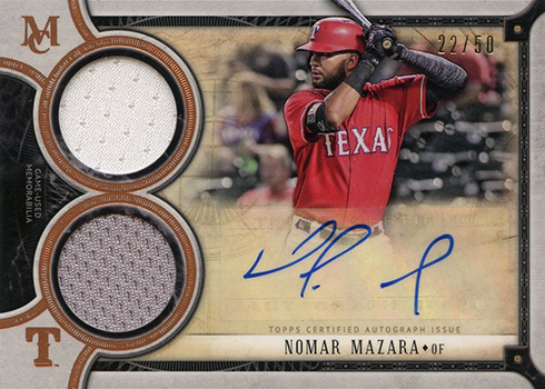 2018 Topps Museum Collection Baseball SIgnature Swatches Dual Relic Autograph Nomar Mazara Bronze