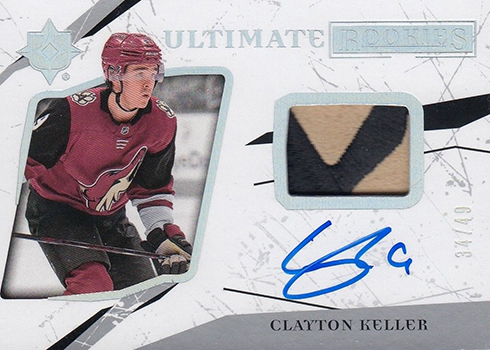2017-18 Upper Deck Ultimate Collection Hockey Ultimate Rookies Auto Patch Clayton Keller